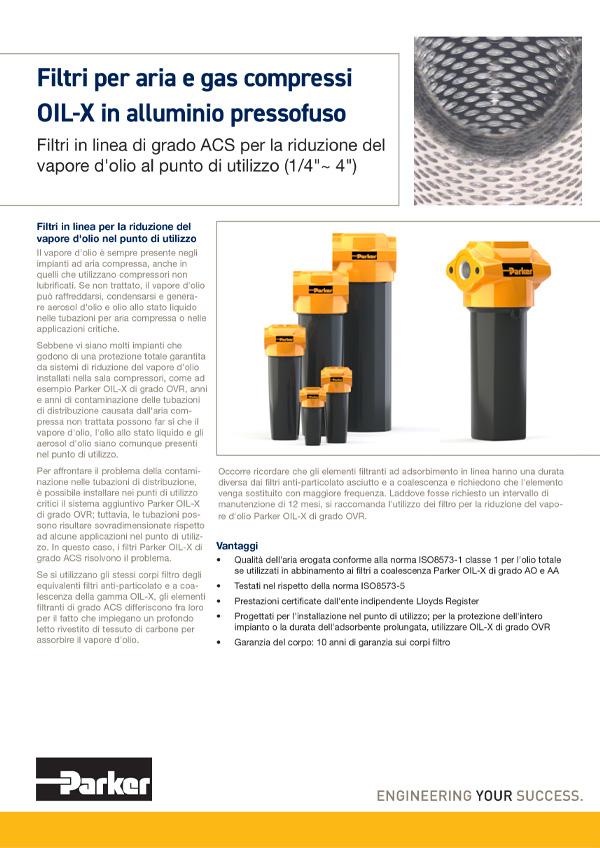 Filtri in linea di grado ACS per la riduzione del vapore di olio