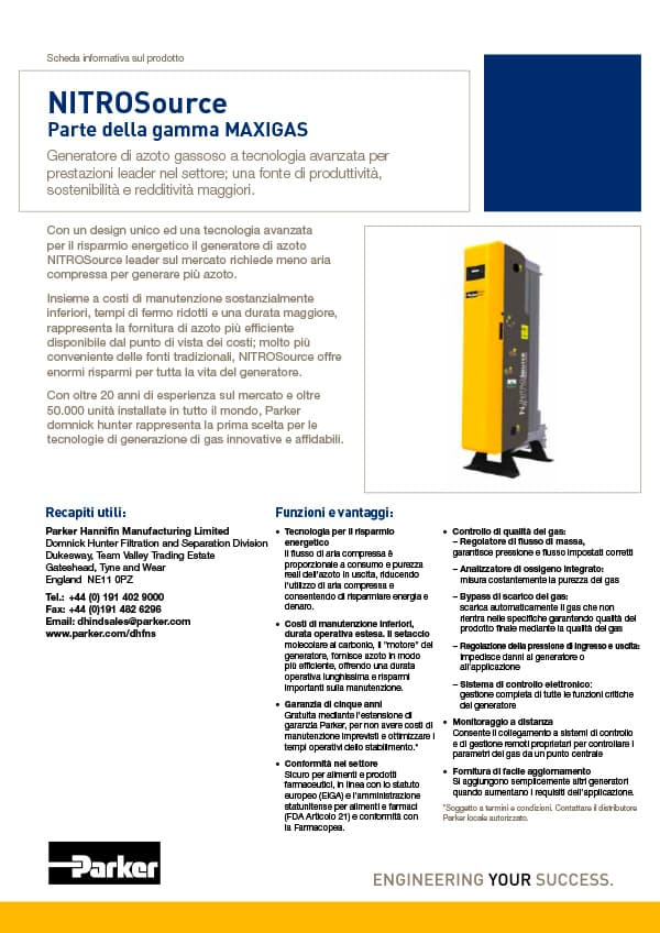 parker domnick hunter generatori azoto nitrosource